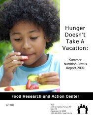 Hunger Doesn't Take A Vacation: - Food Research and Action Center