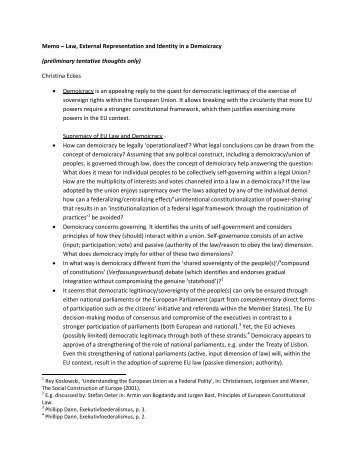Memo – Law, External Representation and Identity in a Demoicracy ...