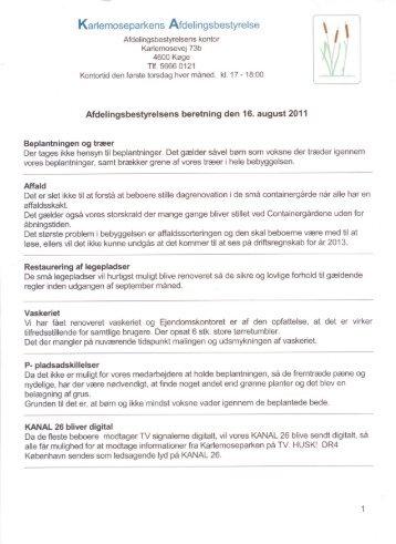 Beretning 2011 - Karlemoseparken Køge