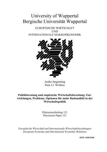 Politikberatung und empirische Wirtschaftsforschung - EIIW