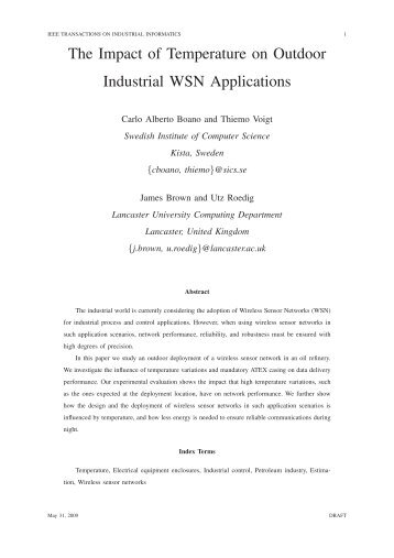 The Impact of Temperature on Outdoor Industrial WSN Applications