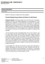 Porsche Design Group wächst mit Fashion um 30 Prozent