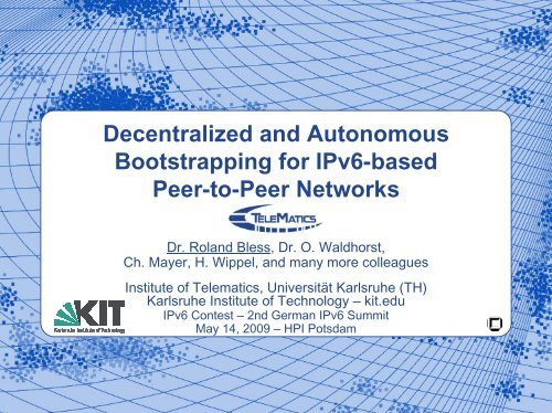 Decentralized and Autonomous Bootstrapping for IPv6-based ... - KIT