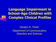 Language Impairment In School-Age Children With Complex