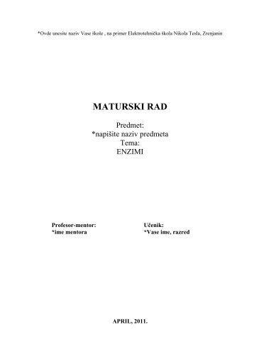 MATURSKI RAD - Seminarski Maturski Diplomski Radovi