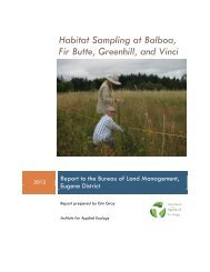 Habitat sampling in the West Eugene Wetlands, 2012 report