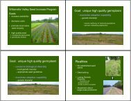 Willamette Valley Seed Increase Program Overview - Institute for ...