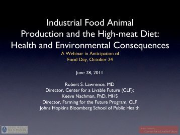 Industrial Food Animal Production and the High-meat ... - Food Day