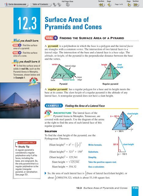 12 3 Surface Area Of Pyramids And Cones Nexuslearning Net