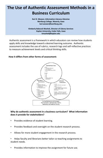 Authentic assessment is a framework in which educators can review ...