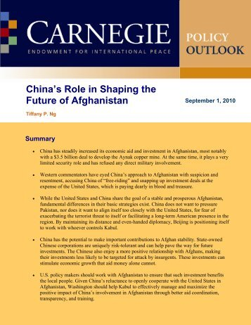 China's Role in Shaping the Future of Afghanistan - Carnegie ...