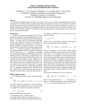 Study of a diffusion flamelet model, with preferential diffusion effects ...