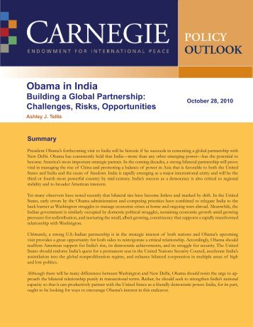 Obama in India--Building a Global Partnership - Carnegie ...
