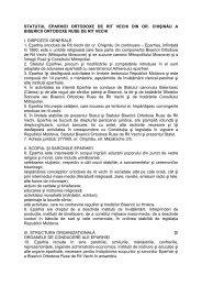 STATUTUL EPARHIEI ORTODOXE DE RIT VECHI DIN OR ...