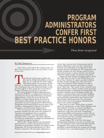 BEST PRACTICE HONORS - Target Markets