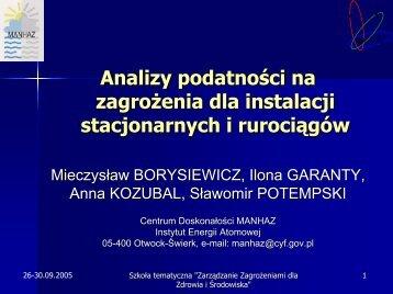 Analizy podatności na zagrożenia dla instalacji stacjonarnych i ...