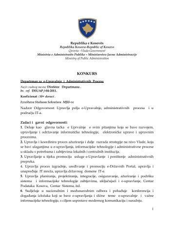 KONKURS - Ministria e Administratës Publike