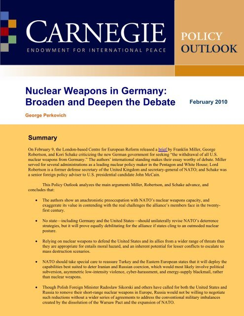 Nuclear Weapons in Germany - Carnegie Endowment for ...