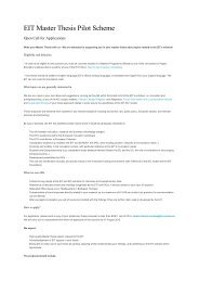 EIT Master Thesis Pilot Scheme - European Institute of Innovation ...