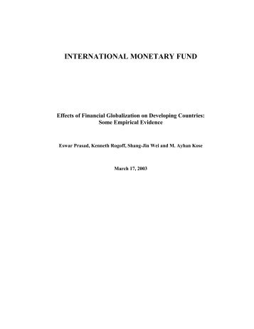 Effects of Financial Globalization on Developing Countries ... - IMF