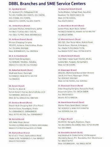 DBBL Branches and SME Service Centers - Dutch-Bangla Bank ...