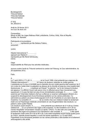 {T 0/2} 4A_655/2012 Arrêt du 25 février 2013 Ire Cour de