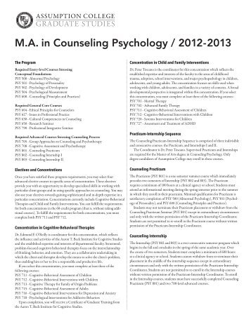 AC Grad/CP Advising Pamphlet - graduate studies at assumption ...