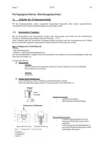 1) Aufgabe der Fertigungstechnik