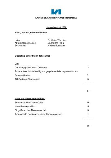 Jahresbericht 2008 Hals-, Nasen-, Ohrenheilkunde Leiter: Dr. Peter ...