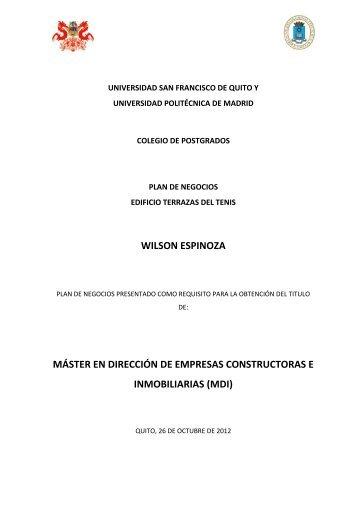 wilson espinoza - Repositorio Digital USFQ - Universidad San ...