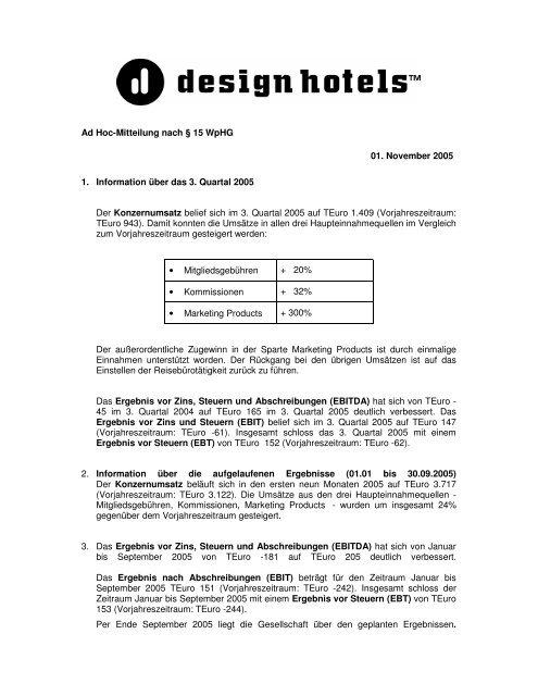 Ad Hoc-Mitteilung nach § 15 WpHG 01. November ... - Design Hotels