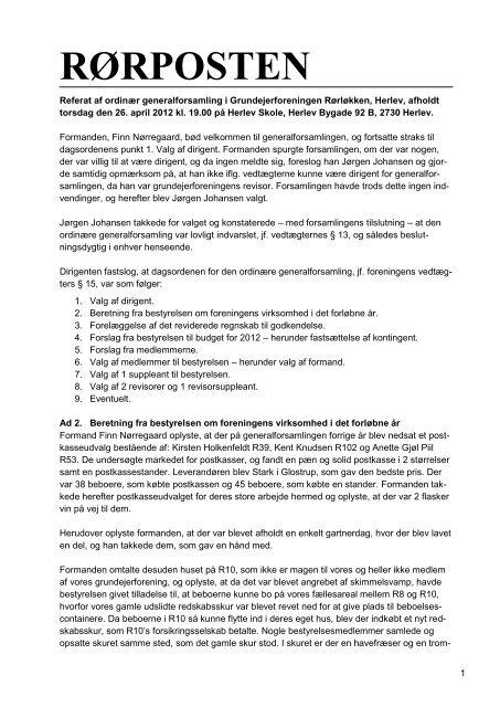 Referat af generalforsamling 26. april 2012 - Rørløkken