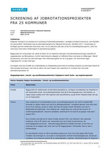 screening af jobrotationsprojekter fra 25 kommuner - Brug Jobrotation