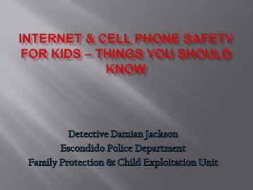 Internet & cell phone safety for new middle schoolers - Escondido ...