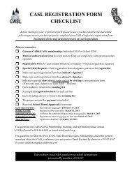 CASL REGISTRATION FORM CHECKLIST - CADA