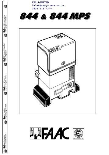 Faac 844 manual fast access security corp.