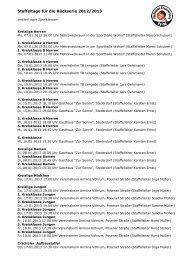 Staffeltage für die Rückserie 2012/2013