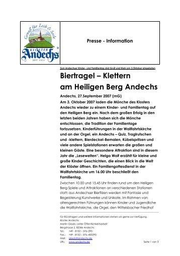 Biertragel – Klettern am Heiligen Berg Andechs - Kloster Andechs