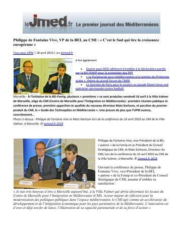 Philippe de Fontaine Vive, VP de la BEI, au CMI : « C'est le Sud qui ...