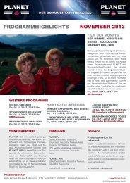 ProGrammHiGHliGHts november 2012 - Planet