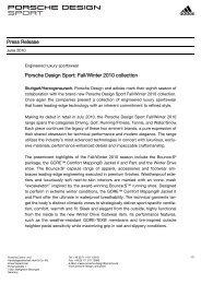 Press Release Porsche Design Sport: Fall/Winter 2010 collection