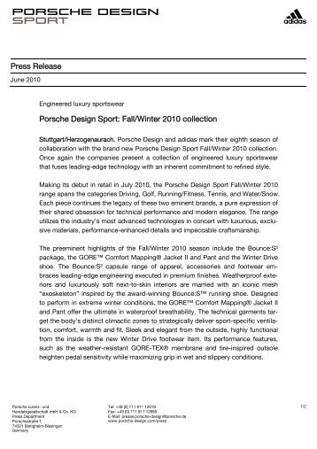 Press Release Porsche Design Sport: Fall/Winter 2010 collection