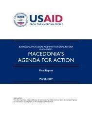 MACEDONIA'S AGENDA FOR ACTION - Economic Growth - usaid