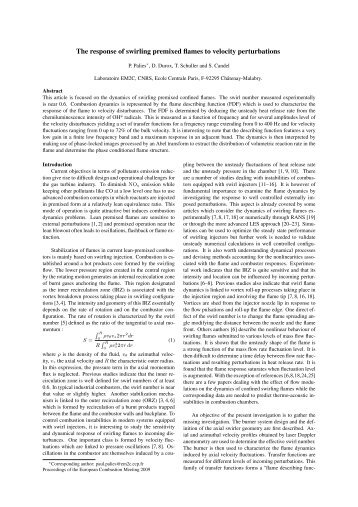 The response of swirling premixed flames to velocity perturbations P ...