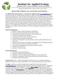 Habitat Restoration Botany Field Technician, Crew Lead