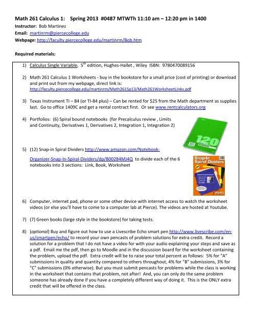 Math 261 Calculus 1 - Faculty piercecollege edu