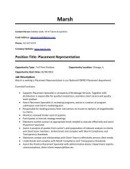 Position Title: Placement Representative
