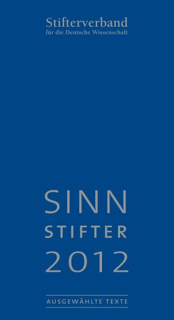 Sinnstifter 2012 (pdf) - Stifterverband für die Deutsche Wissenschaft