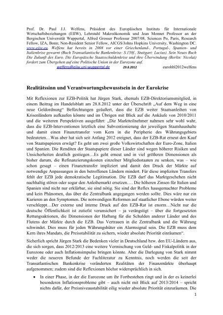 Realitätssinn und Verantwortungsbewusstsein in der Eurokrise - EIIW