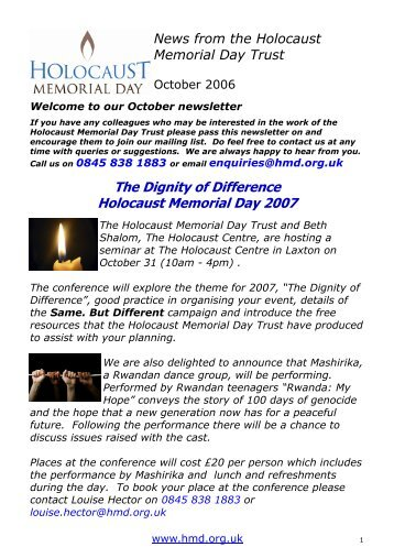 HMD News 6 October 2006 - Holocaust Memorial Day Trust